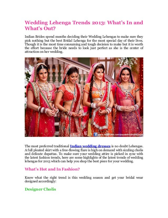 Wedding lehenga trends 2013 whats in and whats out