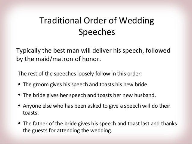Wedding Speech Order Excursionescatalina