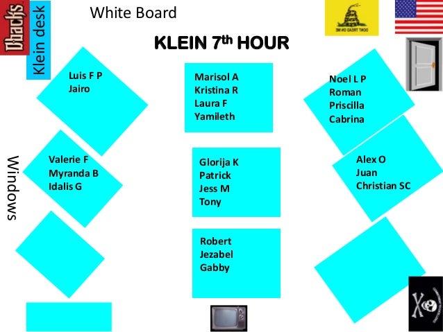 Kleindesk Windows White Board KLEIN 7th HOUR Glorija K Patrick Jess M Tony Noel L P Roman Priscilla Cabrina Marisol A Kris...