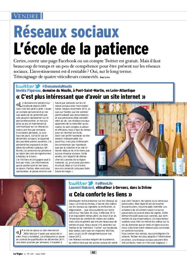 La Vigne n°251 Mars 2013 : Les réseaux sociaux et les vignerons