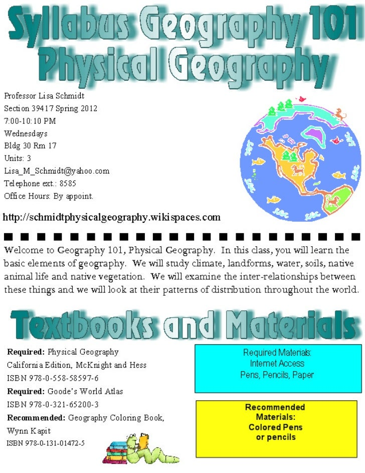 Wed lecture syllabus 2012