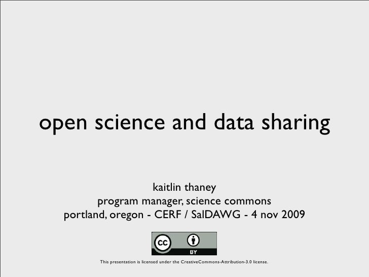 Open Science and Data Sharing - CERF