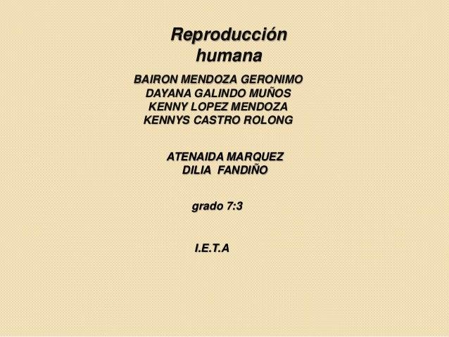 Reproducción humana BAIRON MENDOZA GERONIMO DAYANA GALINDO MUÑOS KENNY LOPEZ MENDOZA KENNYS CASTRO ROLONG ATENAIDA MARQUEZ...