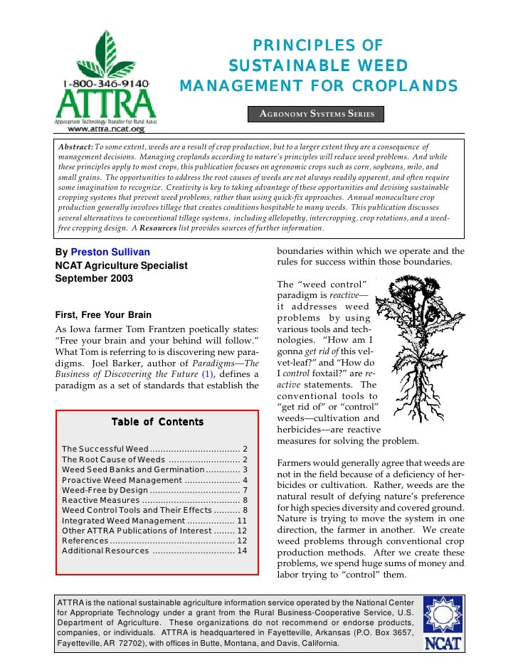 Principles of Sustainable Weed Management for Croplands