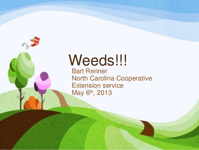 Weeds!!!Bart RennerNorth Carolina CooperativeExtension serviceMay 6th, 2013