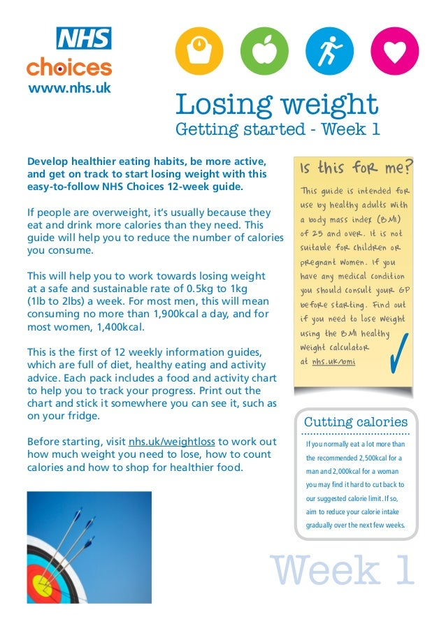 Losing weight                              Getting started - Week 1Develop healthier eating habits, be more active,and get...