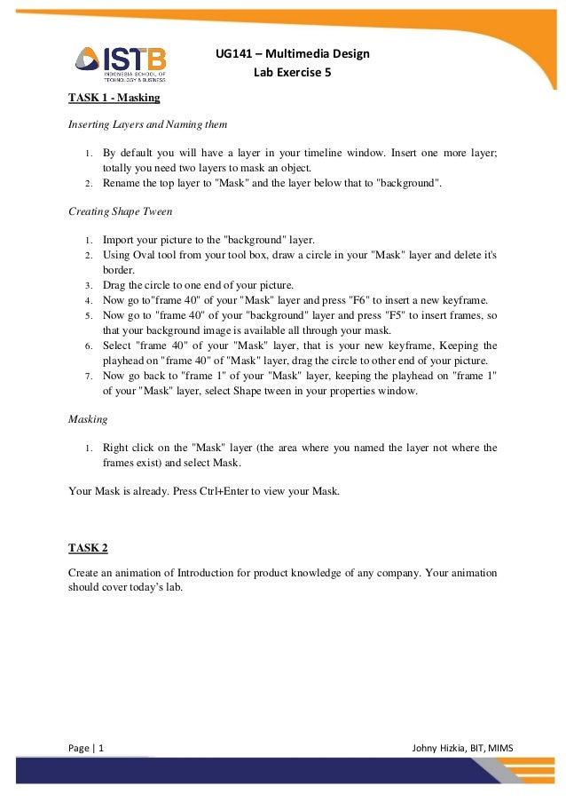 UG141 – Multimedia Design                                     Lab Exercise 5TASK 1 - MaskingInserting Layers and Naming th...