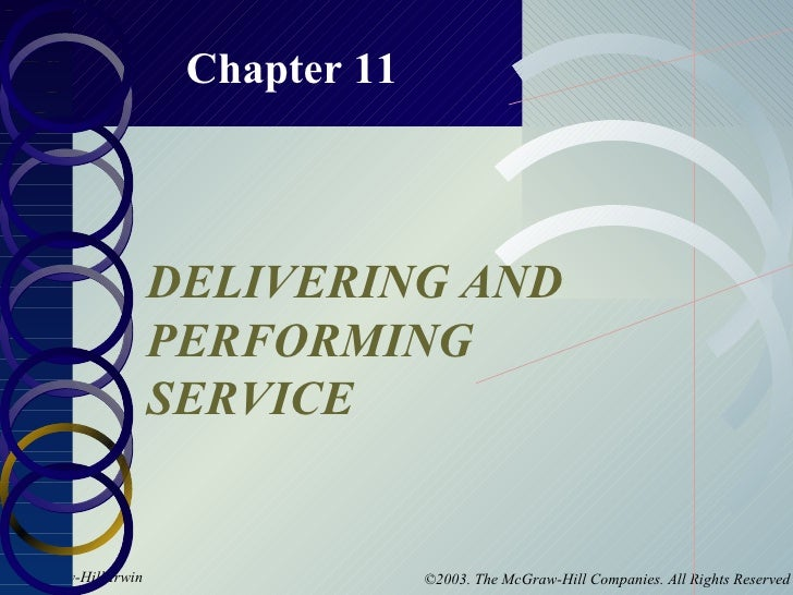 Chapter 11 DELIVERING AND PERFORMING SERVICE