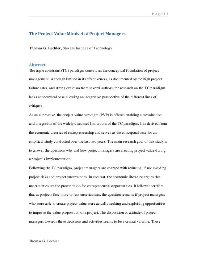 P a g e | 1Thomas G. LechlerThe Project Value Mindset of Project ManagersThomas G. Lechler, Stevens Institute of Technolog...