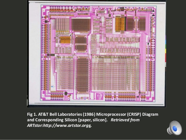 Fig 1. AT&T Bell Laboratories (1986) Microprocessor (CRISP) Diagram and Corresponding Silicon [paper, silicon]. Retrieved ...