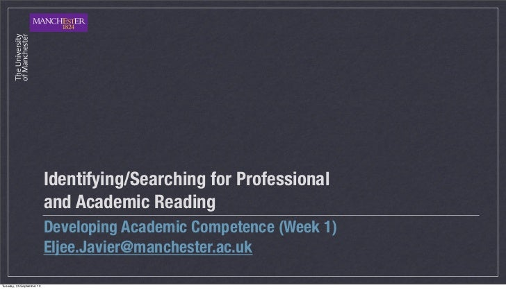 Identifying/Searching for Professional                           and Academic Reading                           Developing...