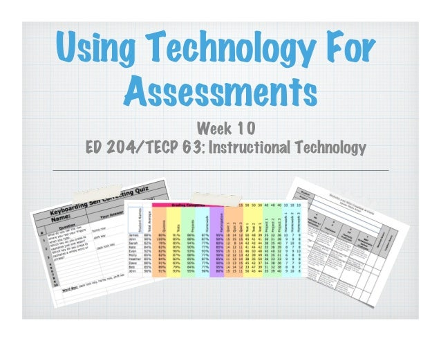 Using Technology For Assessments Week 10 ED 204/TECP 63: Instructional Technology