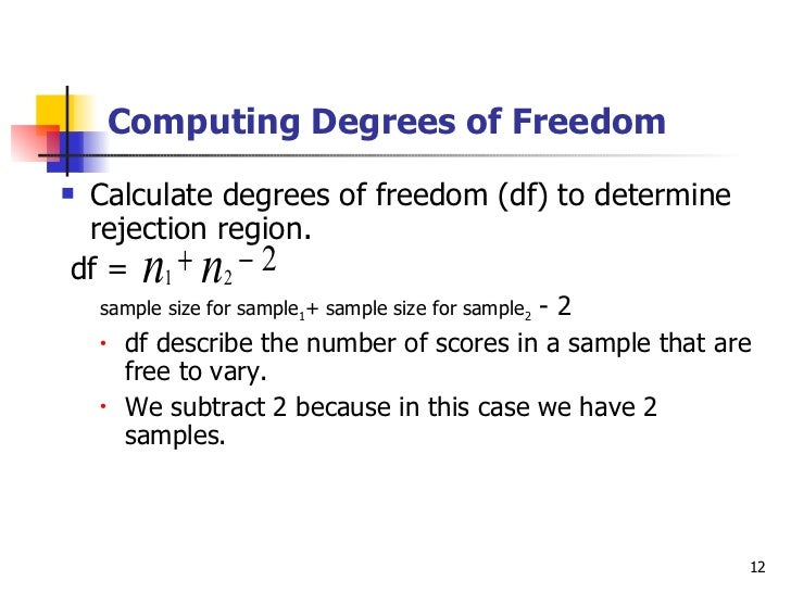 T test for two independent samples for T table 52 degrees of freedom