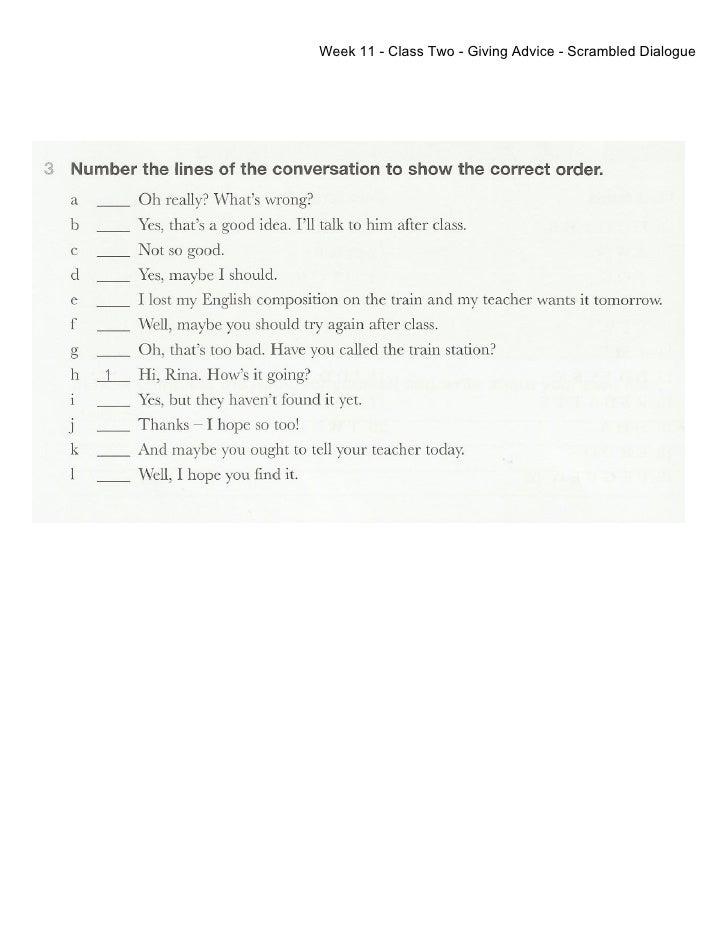 Week 11 - Class 2 - Giving Advice - scrambled dialogue