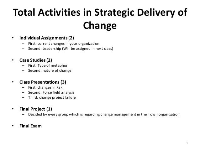 Total Activities in Strategic Delivery of Change •  Individual Assignments (2) – First: current changes in your organizati...