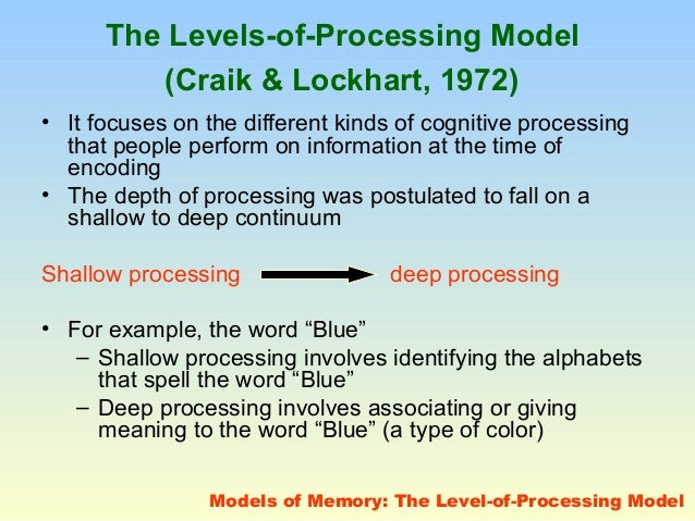 craik and lockhart a theory of the levels of processing and memory 1 levels of processing theory levels of processing theory the theory • craik & lockhart (1972) proposed that stimulus inputs undergo successive.