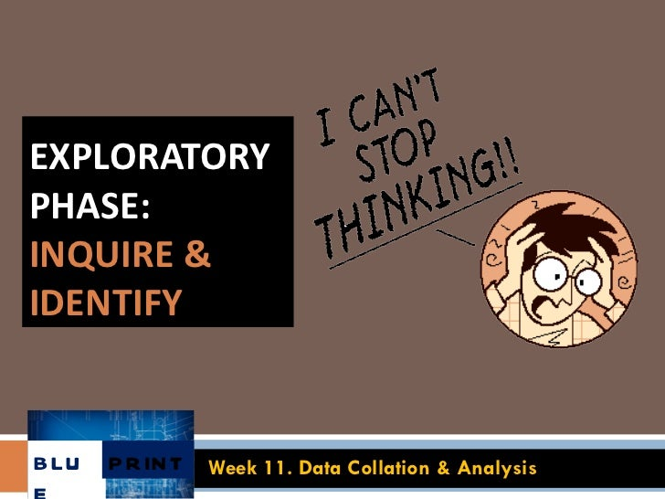 EXPLORATORY PHASE:  INQUIRE & IDENTIFY Week 11. Data Collation & Analysis BLUE PRINT