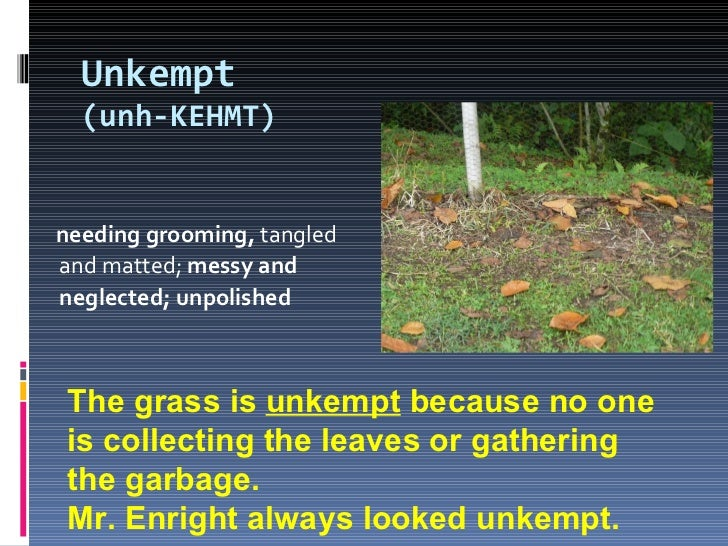 Unkempt (unh-KEHMT) <ul><li>needing grooming,  tangled and matted;  messy and neglected; unpolished </li></ul>The grass is...