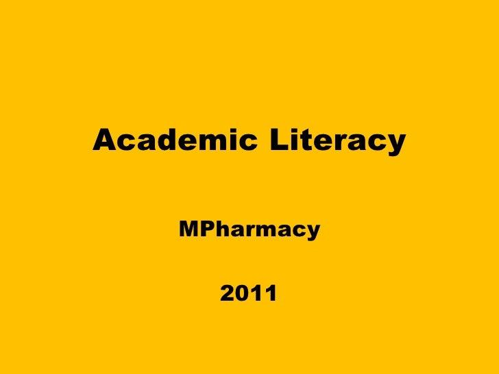 Academic Literacy MPharmacy  2011