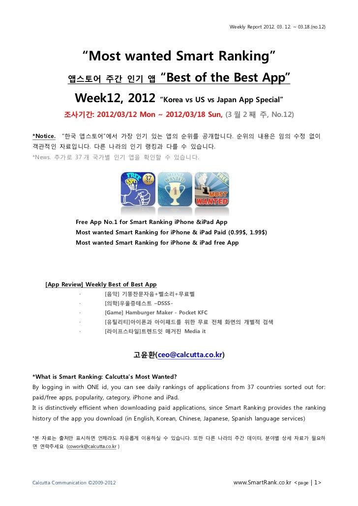 Week12 한국 앱스토어 주간랭킹 03/19일자(3월2주차)