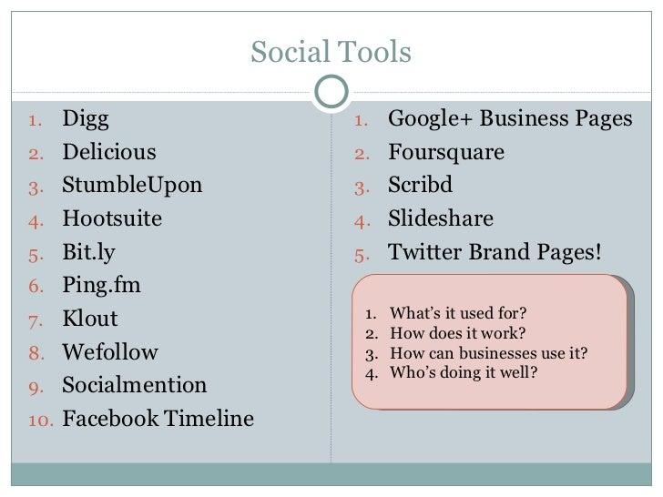 Social Tools <ul><li>Digg </li></ul><ul><li>Delicious  </li></ul><ul><li>StumbleUpon </li></ul><ul><li>Hootsuite </li></ul...
