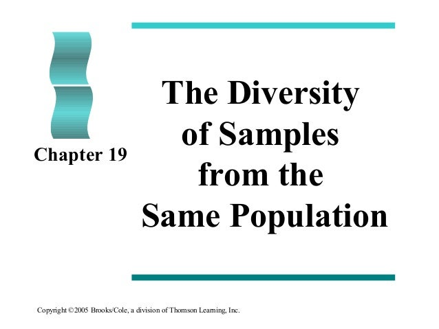 Copyright ©2005 Brooks/Cole, a division of Thomson Learning, Inc. The Diversity of Samples from the Same Population Chapte...