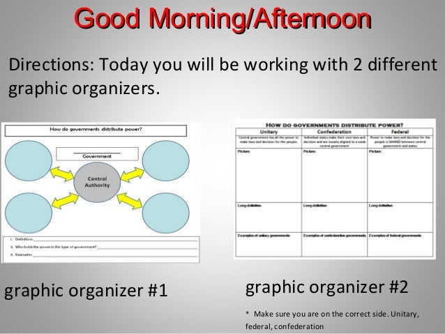 Good Morning/Afternoon Directions: Today you will be working with 2 different graphic organizers.  graphic organizer #1  g...