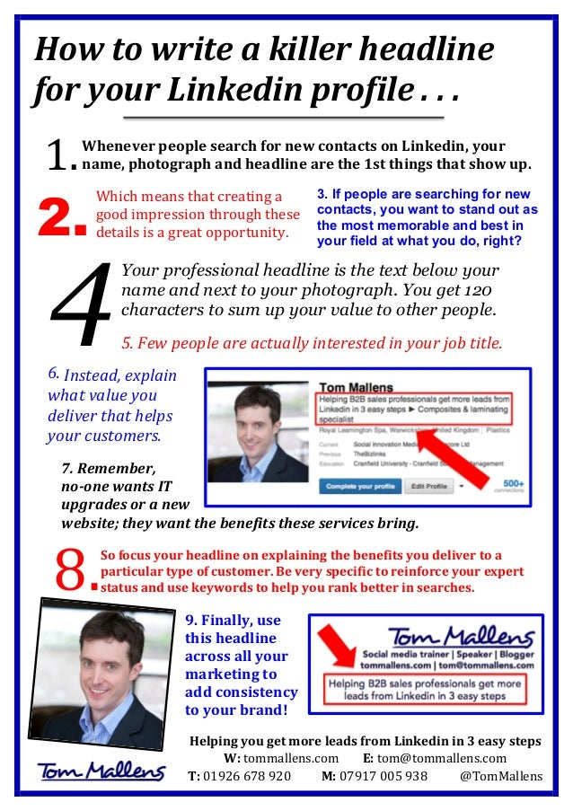 How	   to	   write	   a	   killer	   headline	    for	   your	   Linkedin	   profile	   .	   .	   .	   	    	    	    When...
