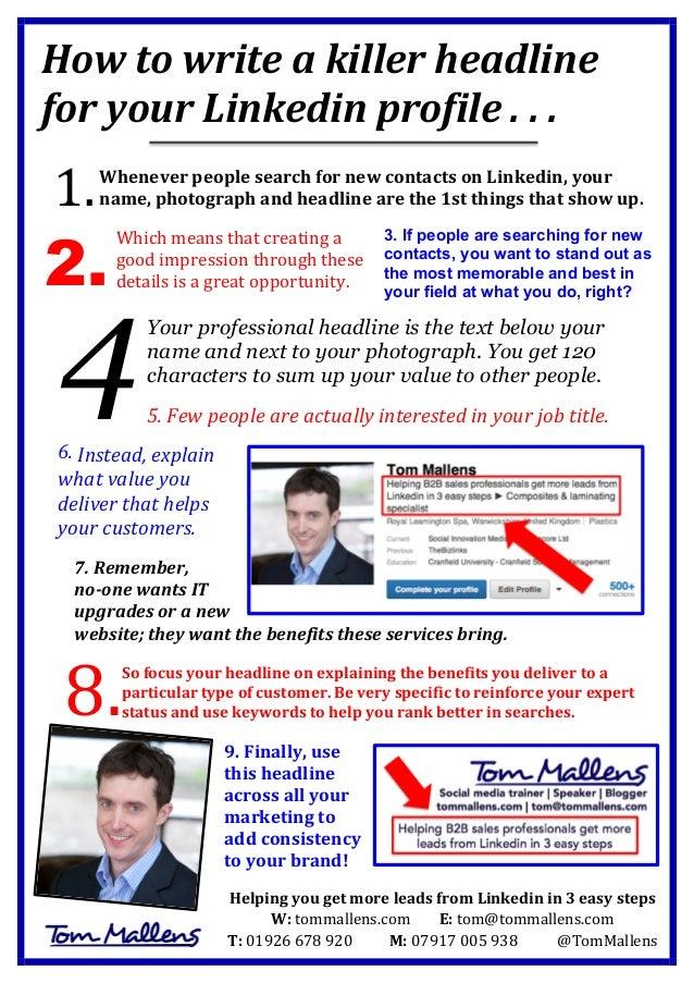 Linkedin marketing: How to write a killer profile headline