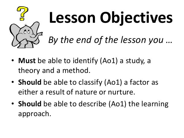 Lesson Objectives By the end of the lesson you … • Must be able to identify (Ao1) a study, a theory and a method. • Should...