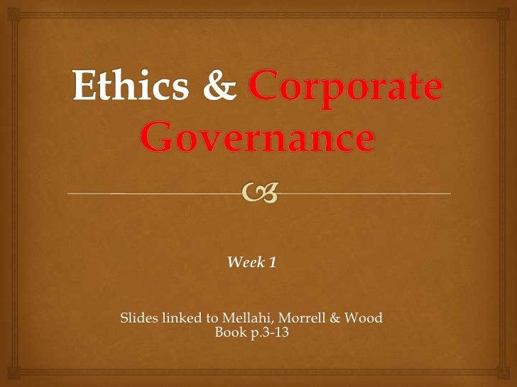 Week 1Slides linked to Mellahi, Morrell & Wood               Book p.3-13