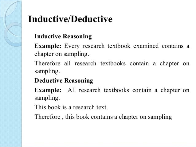 example of inductive research Research is the collection and evaluation of information about a particular subject here is a definition and several examples of types of research and uses.