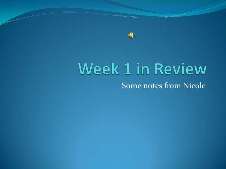 Week 1 review