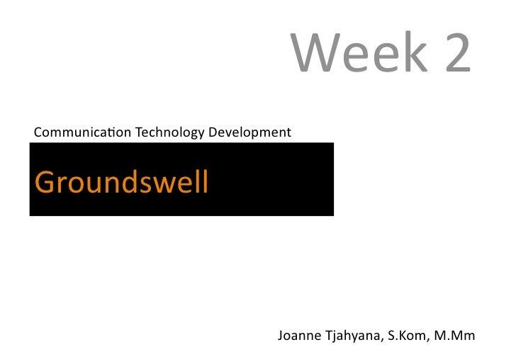 Week 2 -   ground swell