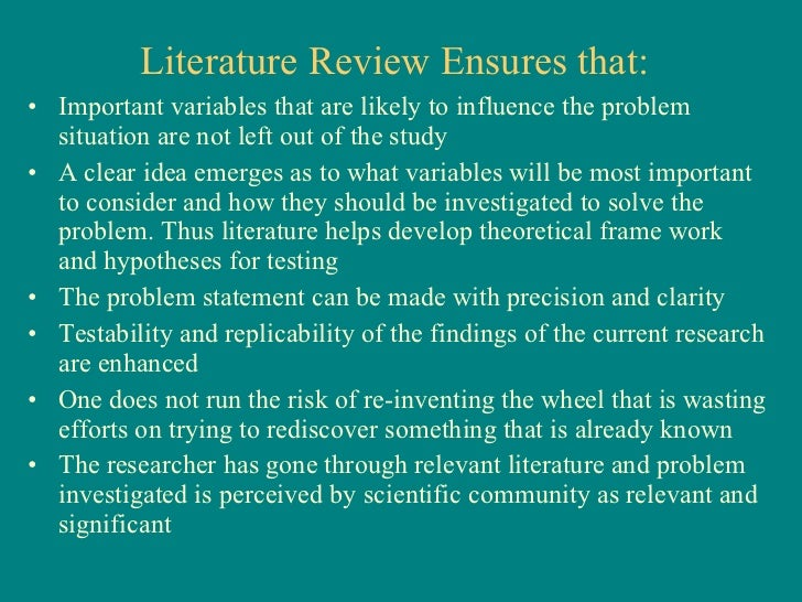 the importance or purpose of review of related literature and studies in a research Review of related literature in and study a literature review is used to set the research scene by review of related literature and studies this.