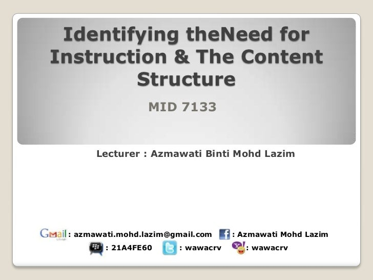 Identifying theNeed forInstruction & The Content        Structure                  MID 7133      Lecturer : Azmawati Binti...