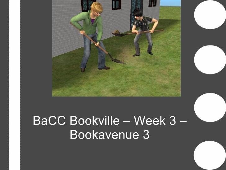 BaCC Bookville – Week 3 –     Bookavenue 3