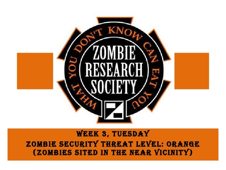 Week 3, Tuesday Zombie Security Threat Level: Orange (Zombies sited in the near vicinity)