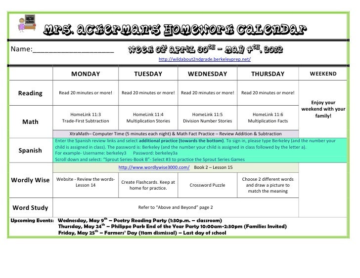 Mrs. Ackerman's Homework CalendarName:____________________                           Week of April 30th – May 4th, 2012   ...