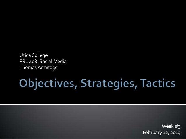 Goals, Objectives, Strategies, and Tactics for a Social Media Campaign