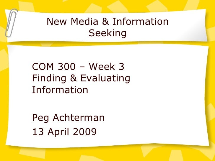 Week 3 Information2009