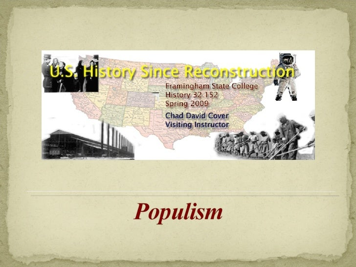 US History Since Reconstruction ~ Week Four Lecture