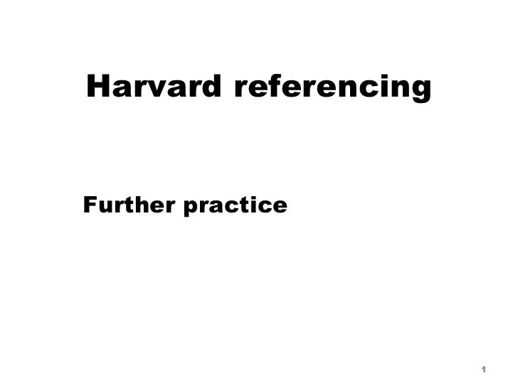 Harvard referencing Further practice