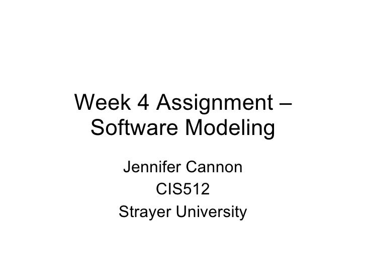 Week 4 Assignment – Software Modeling Jennifer Cannon CIS512 Strayer University
