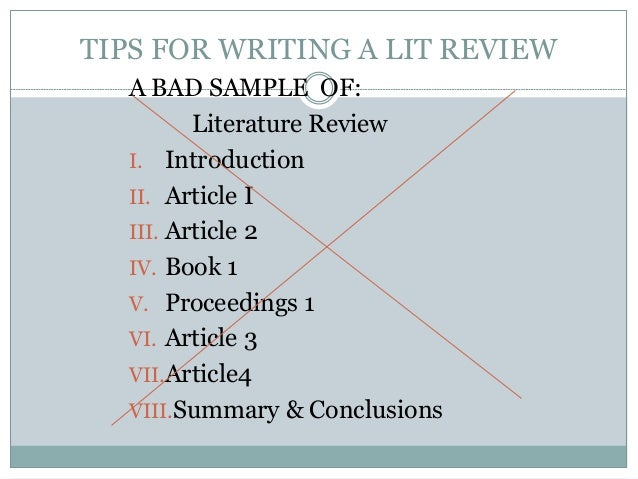 Literature review tips