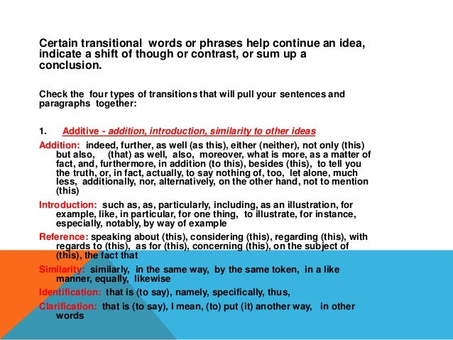 transitional words for dissertations