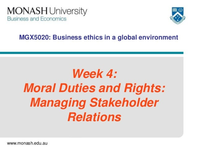 www.monash.edu.au MGX5020: Business ethics in a global environment Week 4: Moral Duties and Rights: Managing Stakeholder R...