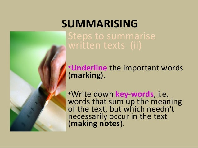 Summarising text