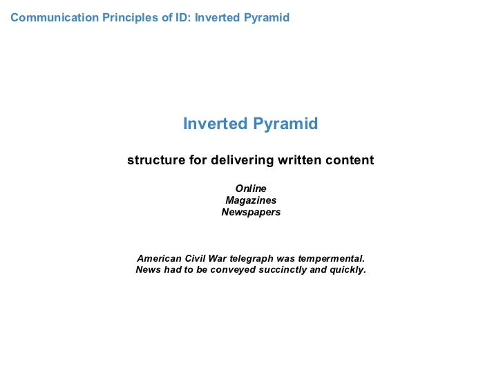 Communication Principles of ID: Inverted Pyramid                              Inverted Pyramid                    structur...