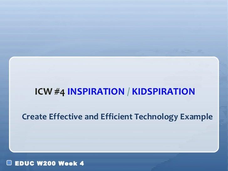 Create Effective and Efficient Technology Example <ul><li>ICW #4  INSPIRATION  /  KIDSPIRATION </li></ul>